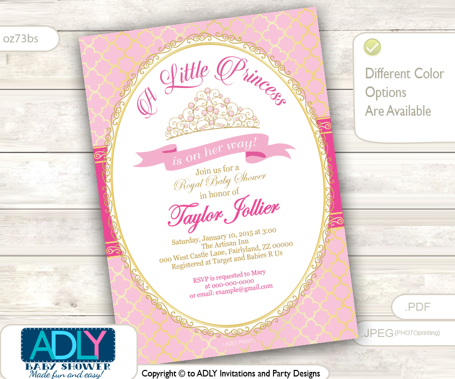 Gold Pink Tiara Girl Shower Invitation for little princess, Bokeh ...