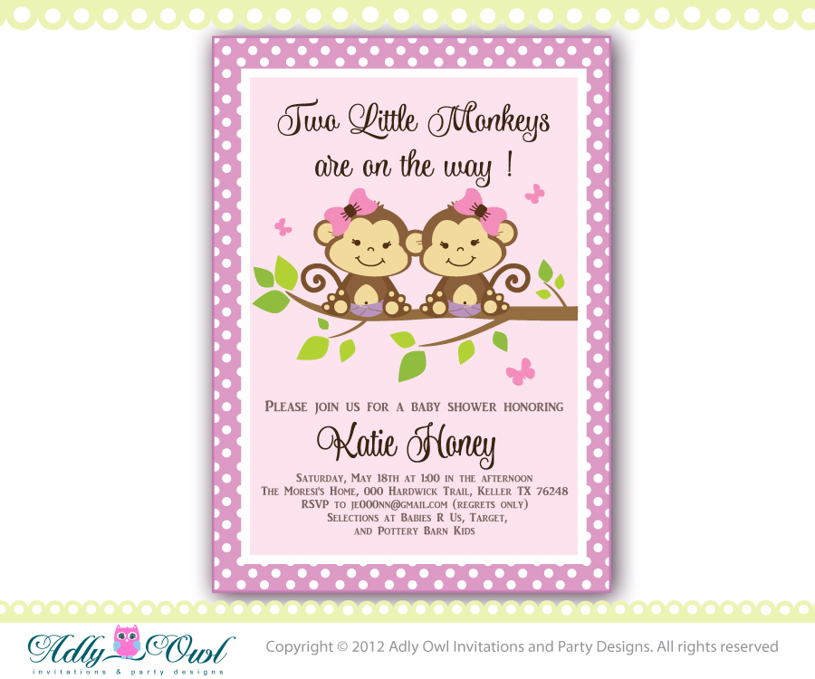 Lilac, Brown, Green Twin Monkeys baby shower invitation with 2 girl ...