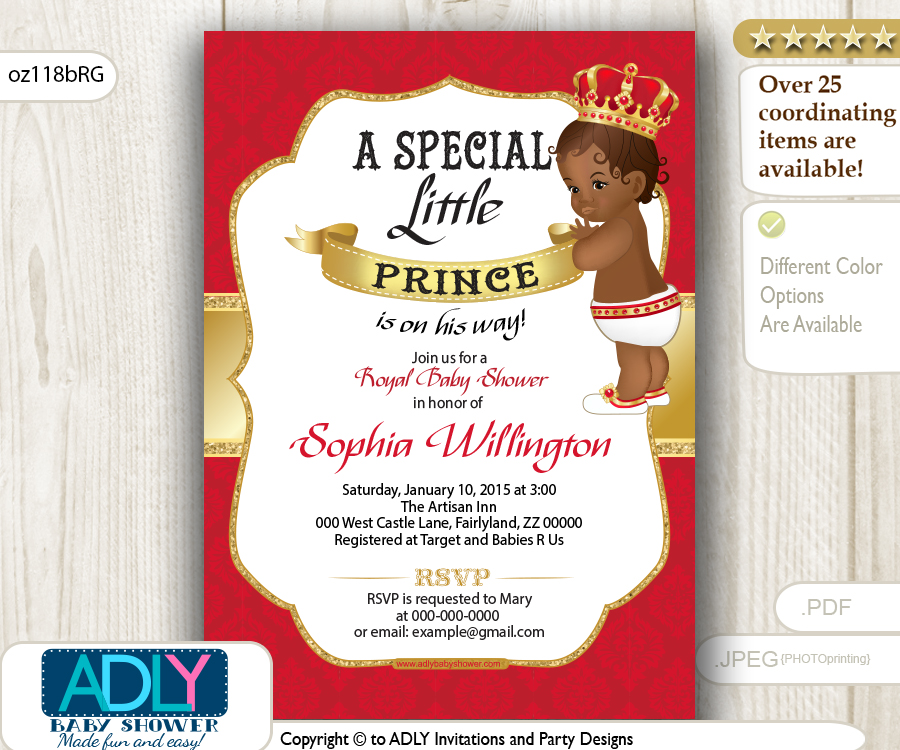 Red Gold African American Prince King Invitation for Baby Shower ...