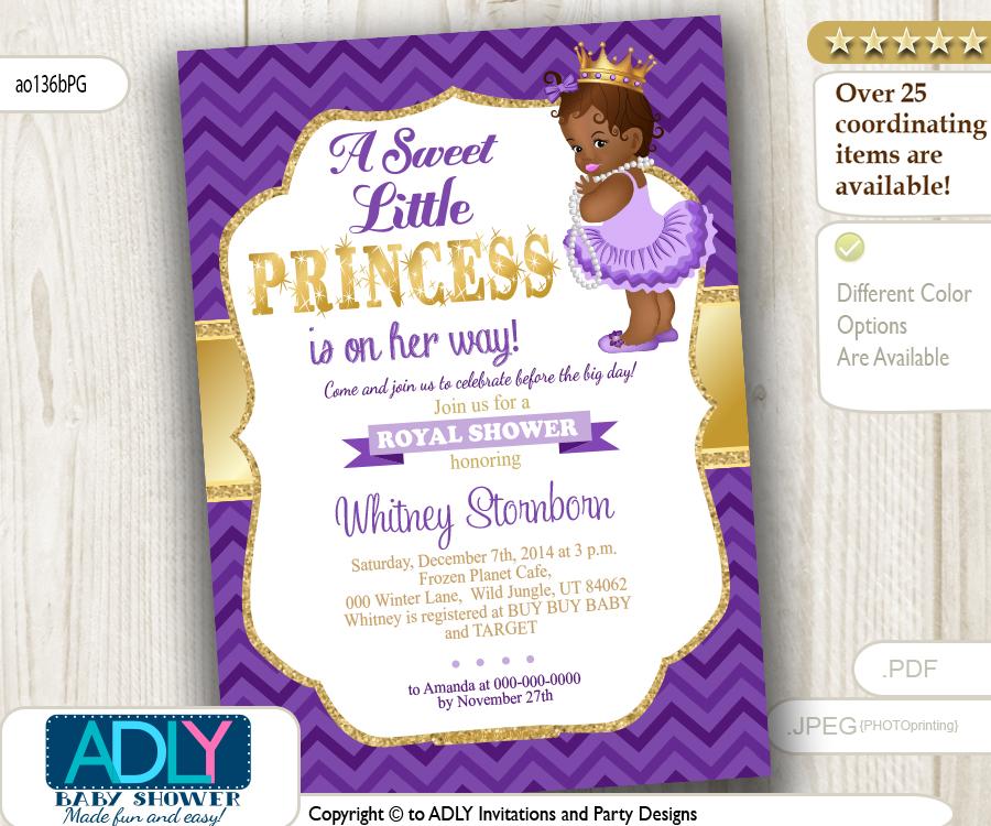 African American Princess,Purple Gold Baby Shower Digital invitation ...