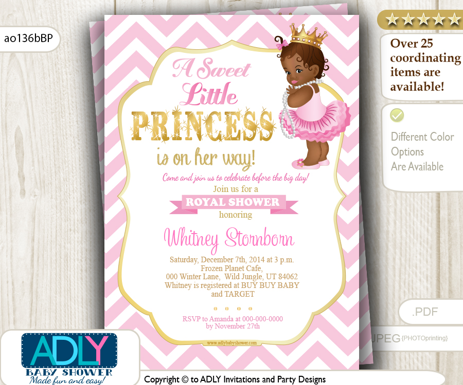 Pink, Gold African Princess with Tutu, Crown and Pearls Shower ...