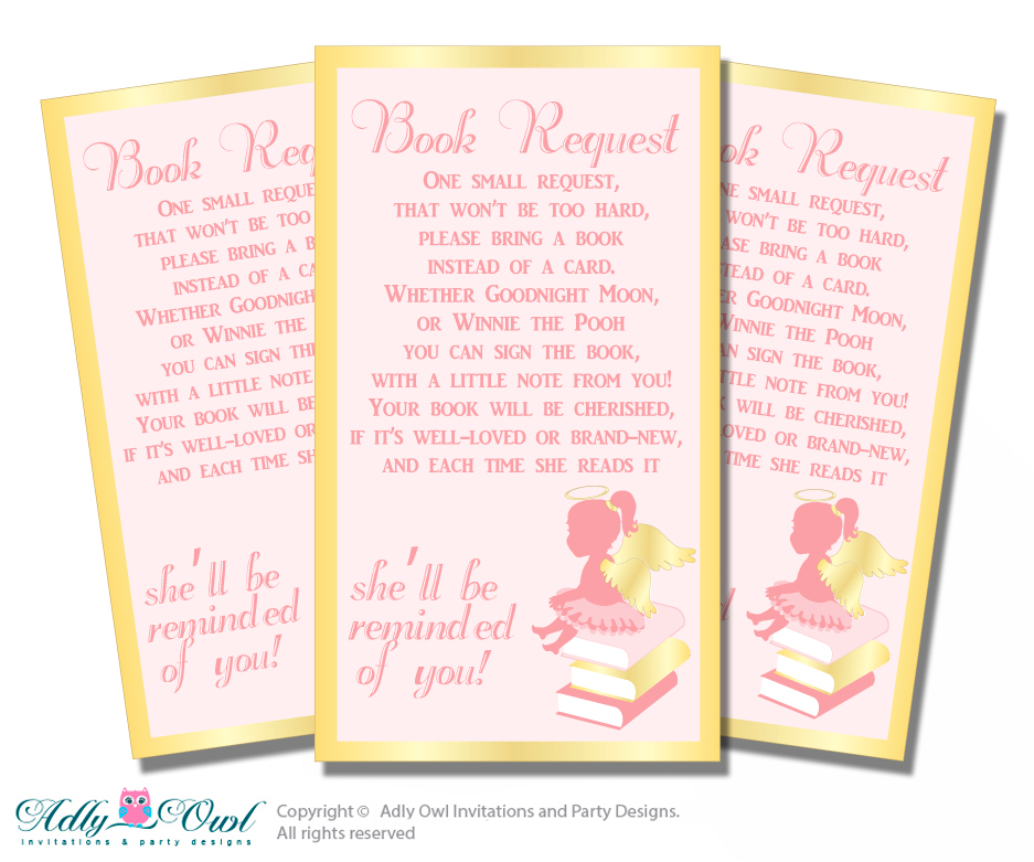Request A Book Instead Of A Card For Little Angel Baby Shower Or