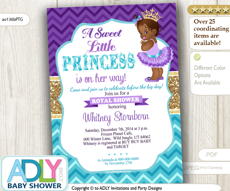 Purple Teal Gold African Princess Royal Invitation for Baby Shower ...