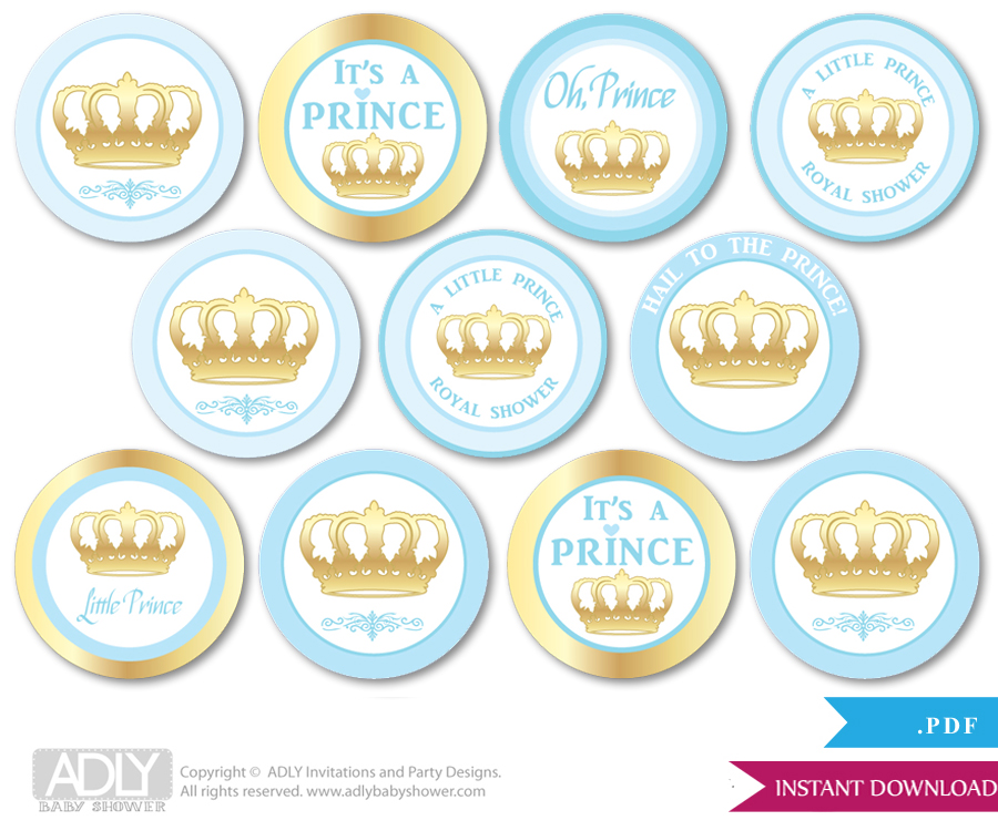 Baby Shower Blue Gold Prince Cupcake Toppers Printable File For - Cupcake name tag template