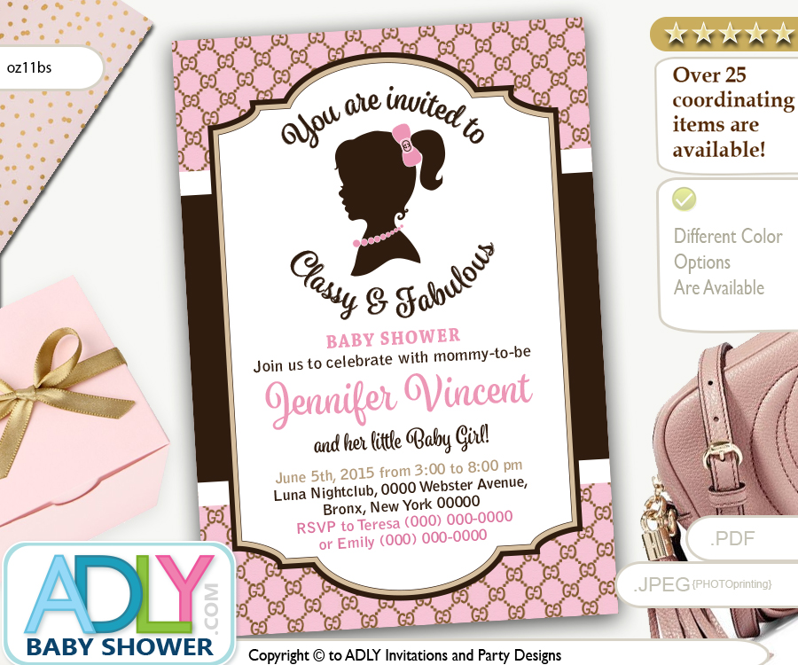 Vintage Classy and Fabulous gucci inspired baby shower invitation ...