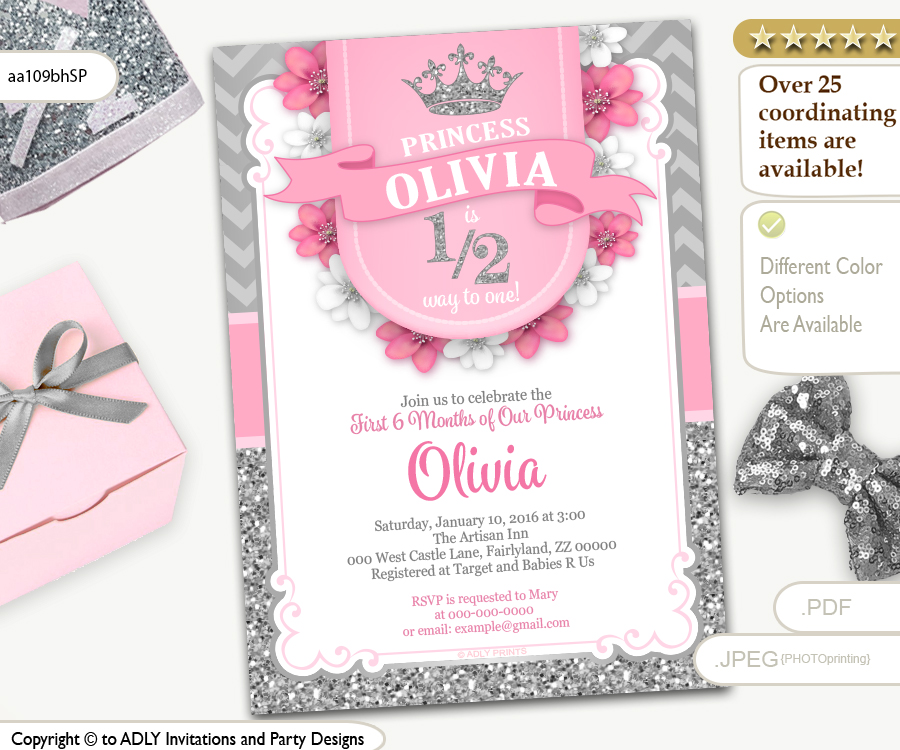 Half way to one 12 birthday invitation for little princess in pink half way to one 12 birthday invitation for little princess in pink and filmwisefo Images