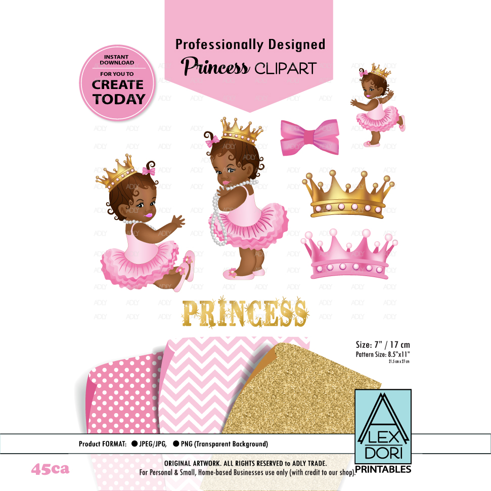 African American Princess Clipart,Pink Gold Baby Shower Digital  Clipart,crown Clipart, Royal
