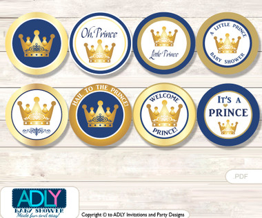 Baby Shower Prince Royal Cupcake Toppers Printable File