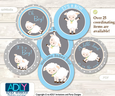 Baby Shower Boy Lamb Cupcake Toppers Printable File For