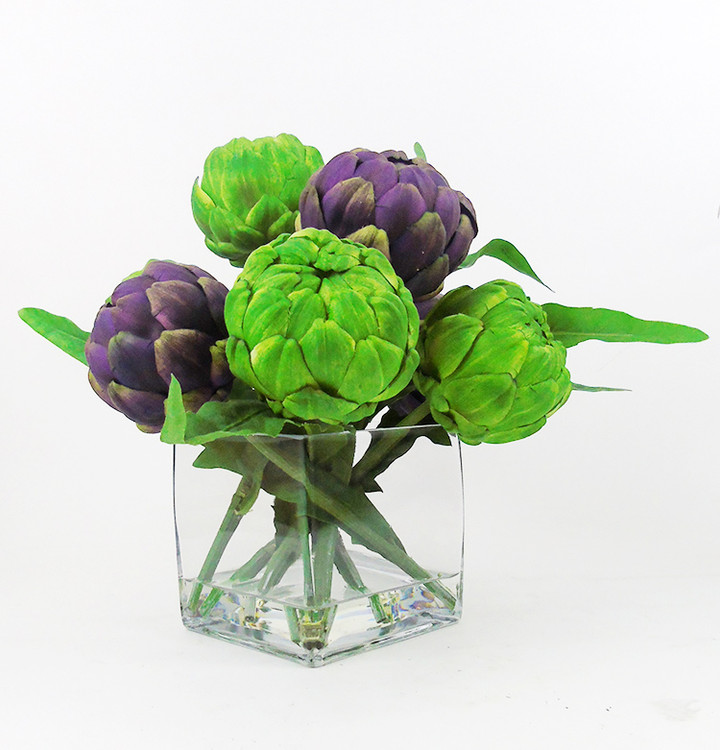 green and purple artichokes, faux