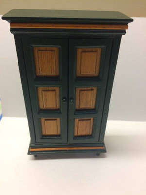 Dollhouse Miniature - 30902 - Armoire - Oak & Green Paint