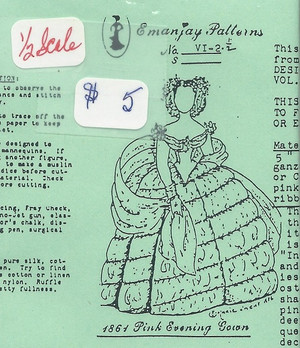 Half Scale VI-2 -  1864 Evening Gown- Emanjay Sewing Pattern