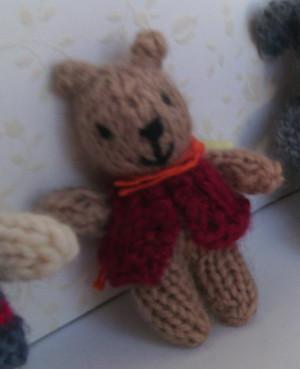 11005 - Teddy Bear - Small - Tan - Red Vest Standing - OOAK