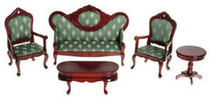 T0101 - VICTORIAN LIVING ROOM  - SET/5 - GREEN/MAHOGANY