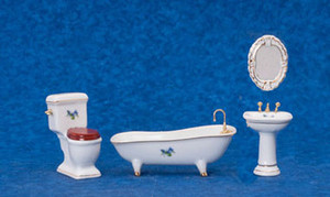 Dollhouse Miniature - T5245 - Porcelain Bathroom Set - With Flowers - 4 Piece Set