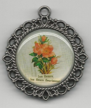 Dollhouse Miniature - 68 - Picture - Round Frame - Flowers