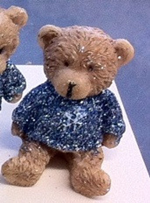 Dollhouse Miniature - 5123 - Bear - Pale Blue Sparkle Top -Sitting- 4 cm