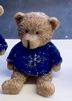 Dollhouse Miniature - 5086 - Bear - Dark Blue Sparkle Top -Sitting- 4 cm