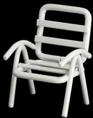 "IM65367 - 1/2"" Scale  Lawn Chair - White Metal"