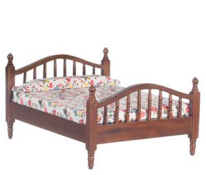 Dollhouse Miniature - T6817 - Double Bed - Walnut