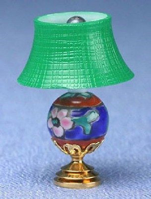 Dollhouse Miniature -  MH917 - MODERN TABLE LAMP -  GREEN SHADE - ORIENTAL