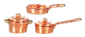 """Dollhouse Miniature - G8168 - 1/2"""" Scale - Copper Casserole/Pot Set - Set/5"""
