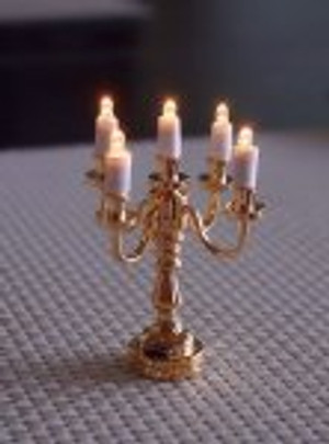 Dollhouse Miniature - T23 - Battery LED - 5-Arm Brass Miniature Candelabra