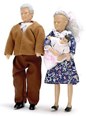 Dollhouse Miniature - AZ00070 - Grandparents with Baby - Set/3