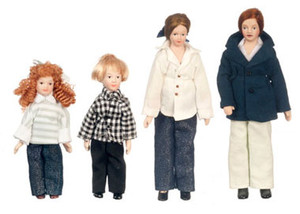 Dollhouse Miniature - G7672 - Modern Family - Set/4 - Red Hair