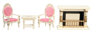 Dollhouse Miniature - T0137 - SALON SET/4 - GOLD/WHITE
