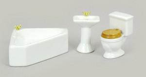 Dollhouse Miniature -T0523 - Porcelain Corner Bathroom Set/3 - White
