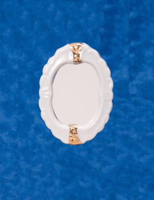 Dollhouse Miniature - CLA01215 - Porcelain Bathroom Oval Mirror