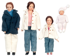 Dollhouse Miniature - G7629 - Porcelain Doll Family - Set/4 - Brunette Hair