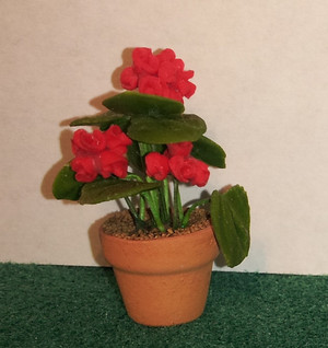 Dollhouse Miniature - 1611 - Flower Pot Kit:  Red Geranium