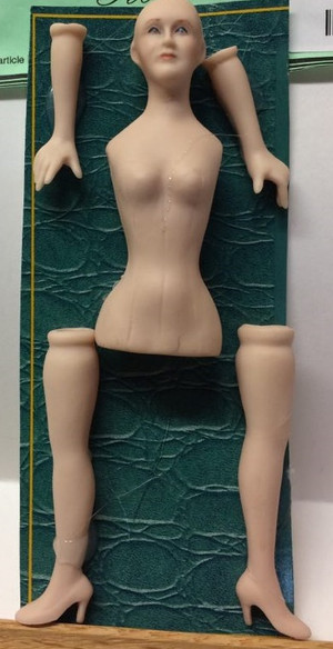 Dollhouse Miniature - Porcelain Doll Kit - Rose #2-1 - Full Body - 1:12 Scale