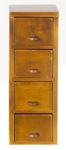 Dollhouse Miniature Filing Cabinet - 4 Drawer - Walnut