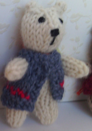 11006 - Teddy Bear Standing - White with Gray Vest - OOAK