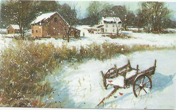 Dollhouse Miniature - 288 - Painting - Snow Scene with Wagon