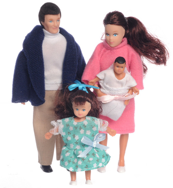Dollhouse Miniature - AZ00020 - Doll Family - Brunette - Set/4
