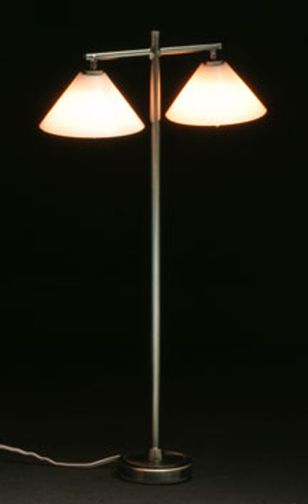 Dollhouse Miniature - MH45153 - Modern Floor Lamp with 2 Down Shade Pewter - 12 v