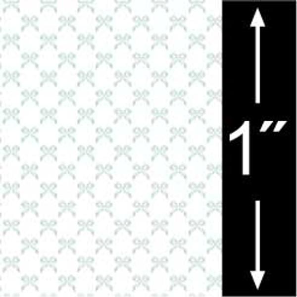 """Dollhouse Miniature - Wallpaper - 1/4"""" Scale - BPQCH101B -Bows - Blue"""