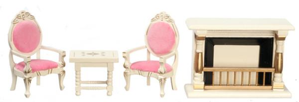 Dollhouse Miniature - T0137 - SALON SET/4 - GOLD/WHITE