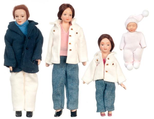 Dollhouse Miniature - G7629 - Porcelain Doll Family - Set/4 - Brunette Hair