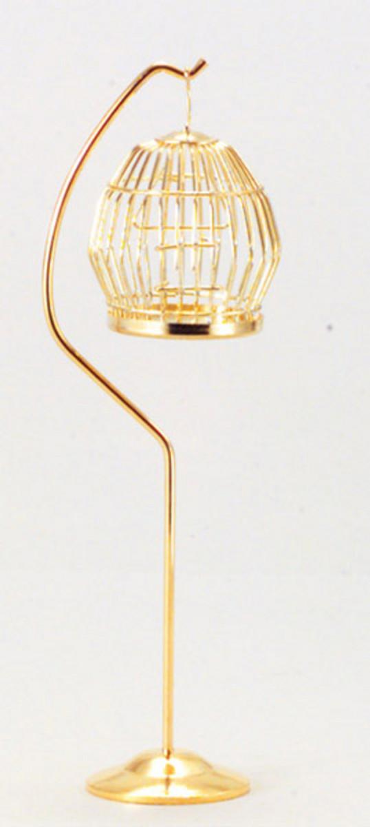 M0391 - Bird Cage & Stand - Brass