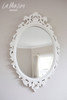IN STOCK NOW: Oval carved Mirror - pure white