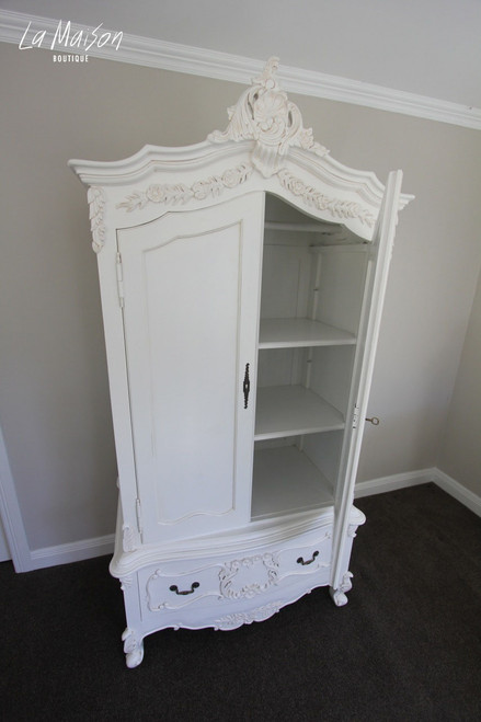 PRE ORDER: Two door Armoire with Crest - white