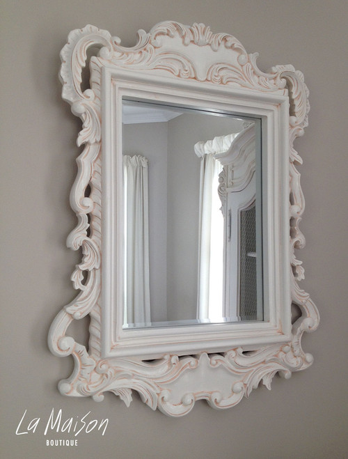 PRE ORDER: Square carved Mirror - antique white