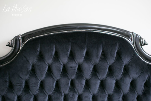 IN STOCK NOW: Colonial Double Ended Chaise Longue - black with silver