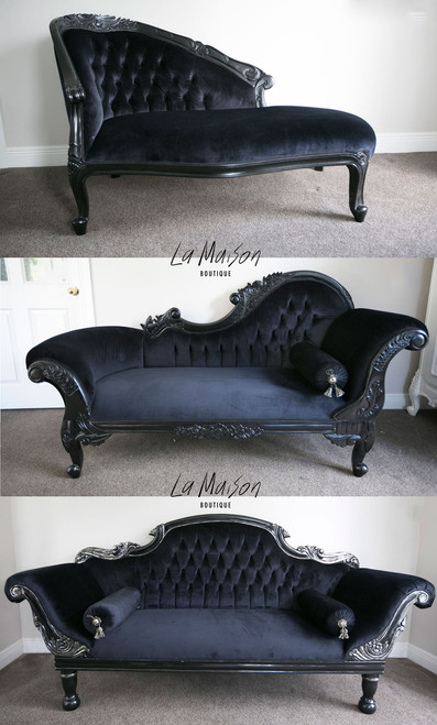 PRE ORDER: Flower Carved Chaise Longue - black