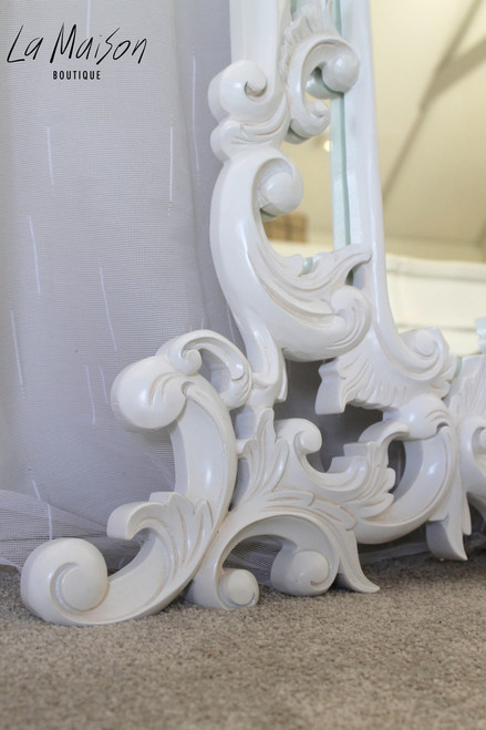 PRE-ORDER: Carved white ornate wall mirror